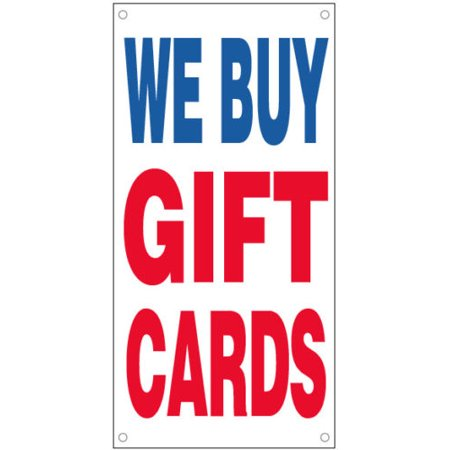 - GHP 2'x4' 13 oz Vinyl WE BUY GIFT CARDS Vinyl Business Banner Sign w Metal Grommets
