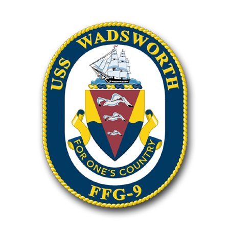 3.8 Inch Navy USS Wadsworth (Shaded ) FFG-9 Vinyl Transfer Decal