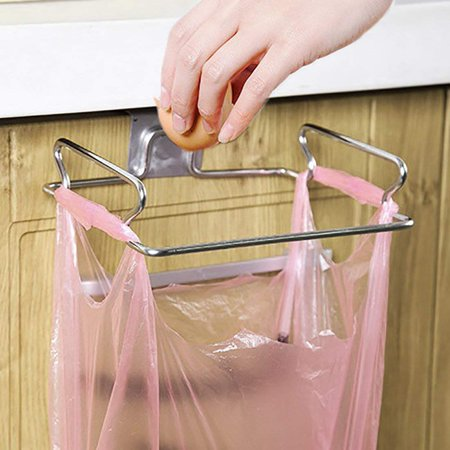 Kloud City Hanging Garbage Bags Storage Rack Stainless Steel Trash Bag Holder Towel Gloves Hanger for Kitchen](Bag Rack)
