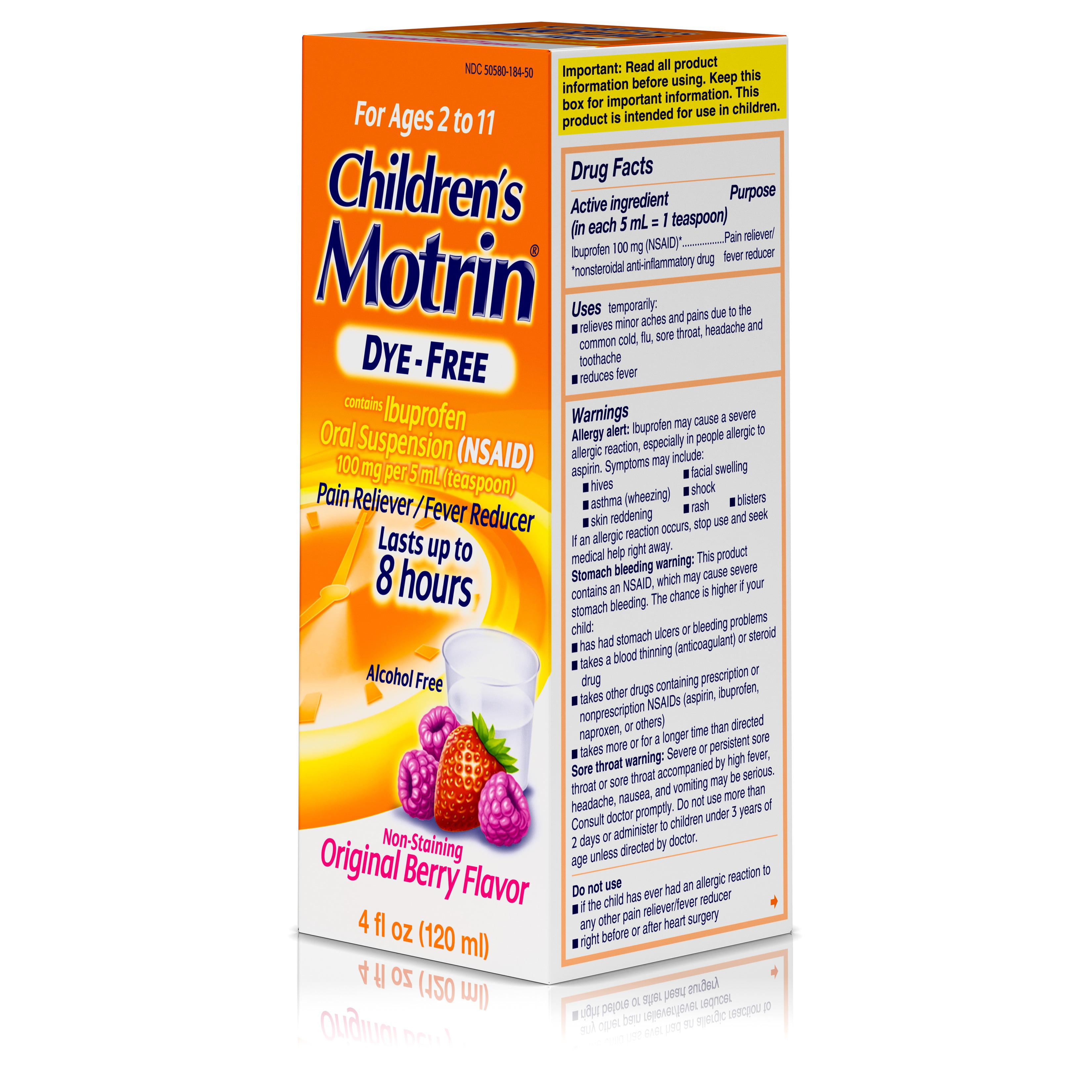 Children S Motrin Oral Suspension Dye Free Berry Ibuprofen Fever