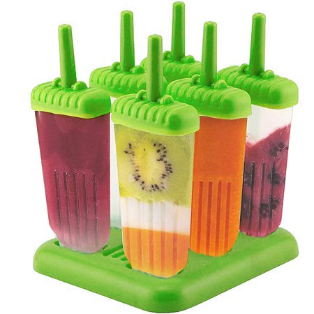 GLiving Popsicle Molds Set - BPA Free - 6 Ice Pop Makers  with Tray and Sticks Popsicles  for Kids and Adults Best for Party Indoor and Outdoor (Best Popsicle Stick Jokes)