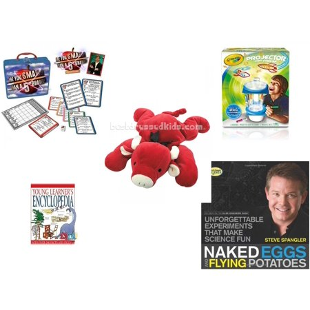 Children's Gift Bundle [5 Piece] -  Are You Smarter Than a 5th Grader In Lunch Box  - Crayola Sketcher Projector  - Ty Pillow Pal Red The Bull 15
