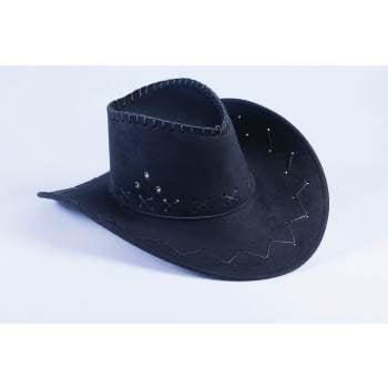 Cowboy Woman Costume (COWBOY HAT-BLACK FAUX SUEDE)