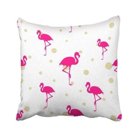 ARTJIA White Animal Hot Pink Flamingo And Gold Glitter Beautiful Bird Celebration Color Couple Pillowcase Throw Pillow Cover Case 18x18 (Flamingos Color)