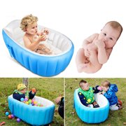 Inflatable Baby Bathtub Portable Swimming Pool Kid Infant Toddler Foldable Shower Basin Shower Pool (Blue)