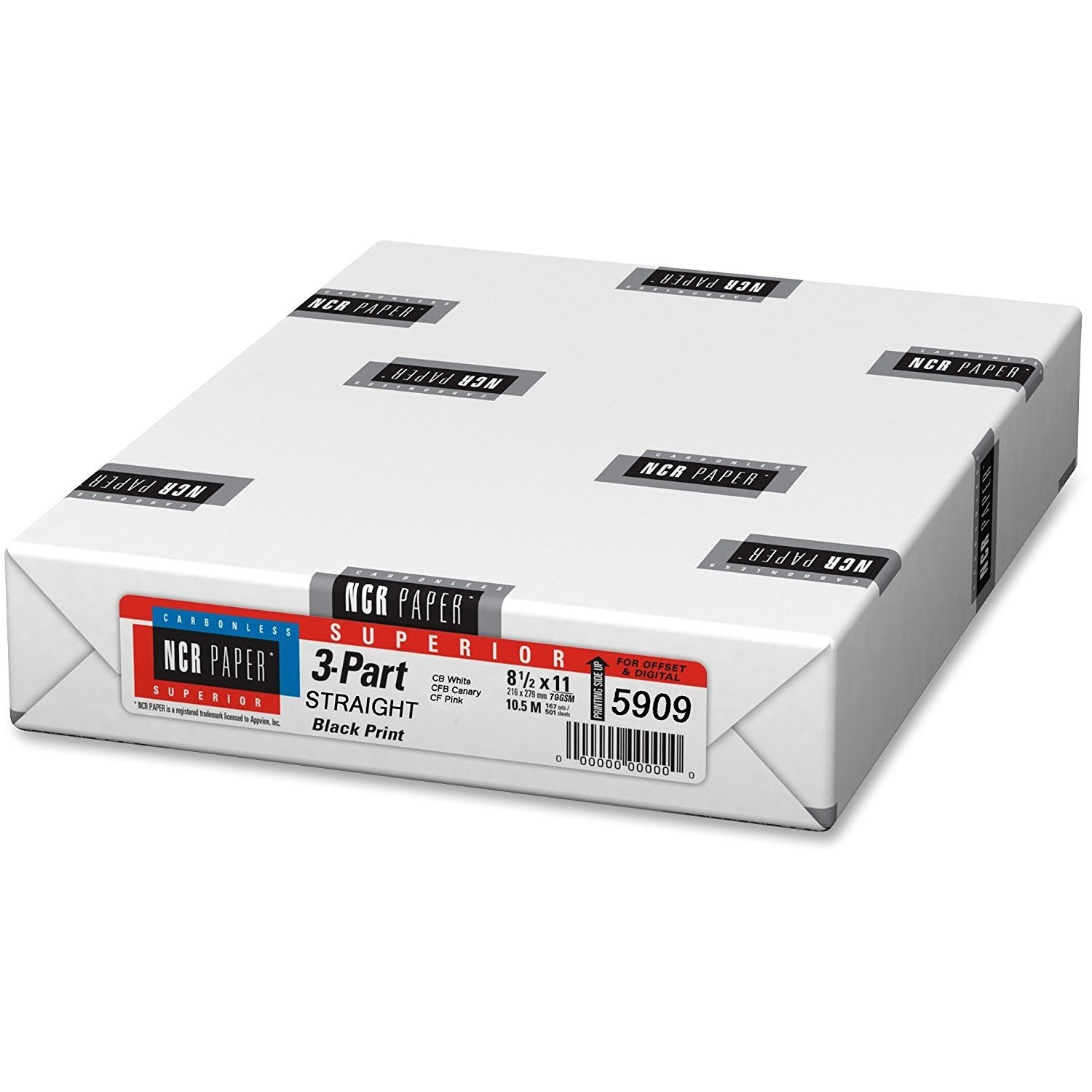 167 Sets of 3 Part NCR Paper 8.5 x 11 Straight Collated Carbonless Paper (5909) by Appvion, Inc