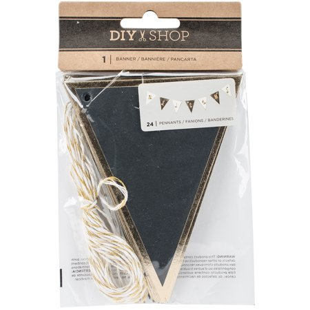 American Crafts Diy Shop 3 Collection Banners With Foil Accents Chalkboard