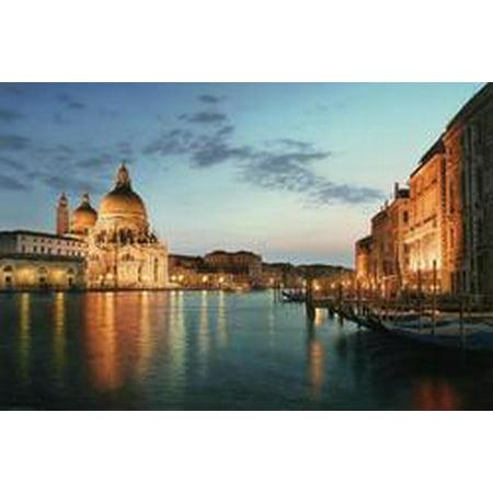 LED Lighted Venice City Italy Sunset Scene Canvas Wall Art 15.75 x 23.5 - City Scene