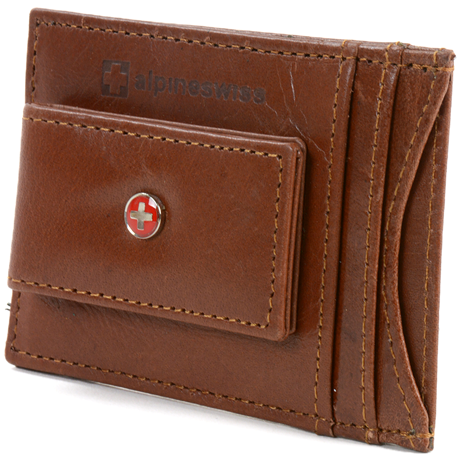Alpine Swiss RFID Blocking Men's Magnetic Money Clip Leather Front Pocket Wallet