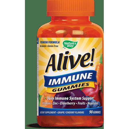 Immune 90 Caps - Natures Way Alive! Immune Gummies Dietary Supplements 90 Count