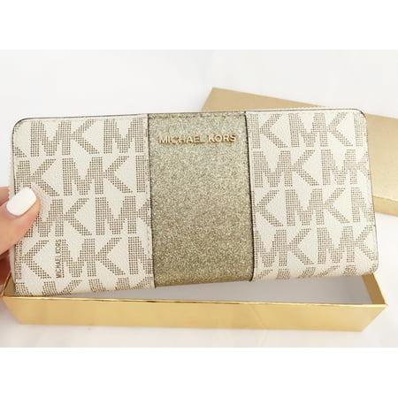 ea06d5608ea08f Michael Kors - Michael Kors Jet Set Travel Center Stripe Continental Wallet  Vanilla MK Gold BOX - Walmart.com