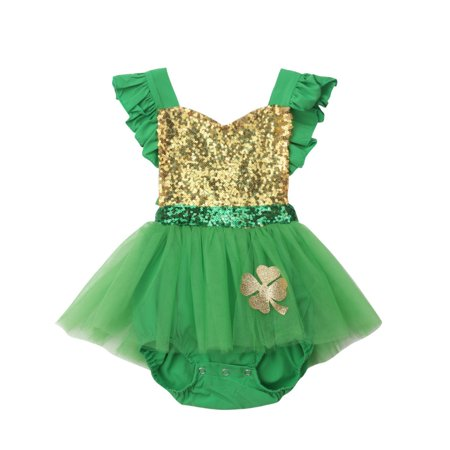 St. Patrick's Day Newborn Infant Baby Girl Sleeveless Sequins Green Bodysuit Tutu One Piece Outfit](Tutu Next Day Delivery)