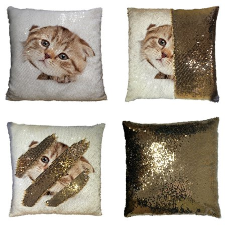 GCKG Funny Kitten Pillowcase, Animal Cat Looking out Paper Hole Reversible Mermaid Sequin Pillow Case Home Decor Cushion Cover 20x20 inches