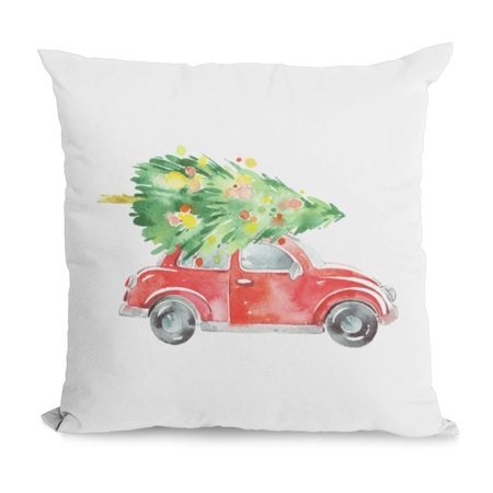 Bug Print Pillow (Bonnie Jeans Homestead Prints Christmas Tree on Red Volkswagen Bug Pillow Cover (Oatmeal,)