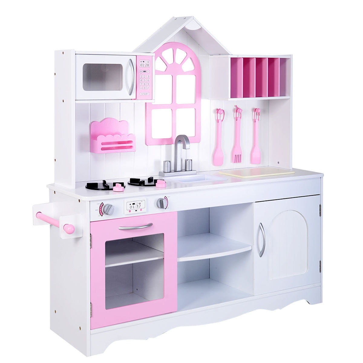 Costway Kids Wood Kitchen Toy Cooking Pretend Play Set Toddler Wooden Playset by Costway