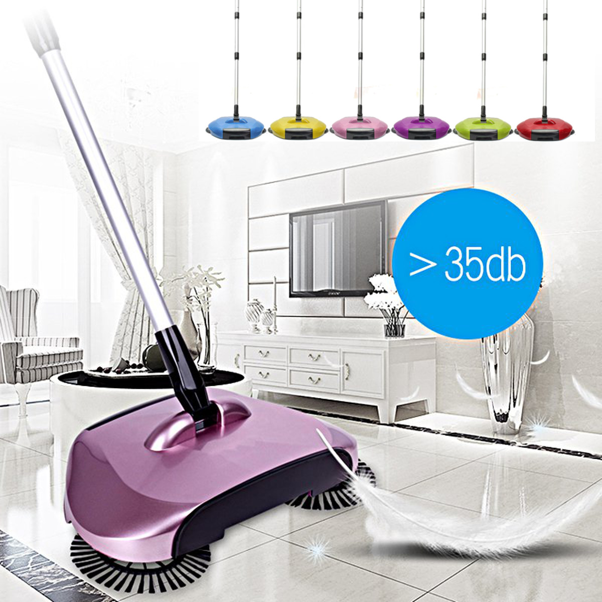 360 Rotation Swivel Hand Push Broom Sweeper Floor Sweeper Cleaner Household Floor Surface Cleaning Mop
