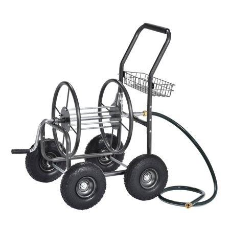 Steel Hose Reels - Outdoor Water Hose Reel Cart with Steel Mesh Basket