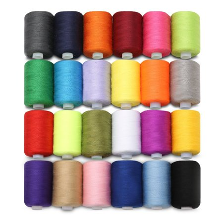 24 Colors 218 Yards Each Cotton Sewing Thread Spools For Hand Machine Arts, Crafts & Sewing Clothing Crafting (Wooden Thread Spools)