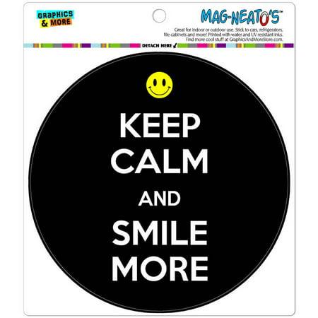 Keep Calm And Smile More Happy Face Automotive Car Refrigerator Locker Vinyl Magnet