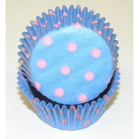 Light Blue with Pink Polka Dot Cupcake Liners - 50 count - Polka Dots Cupcakes