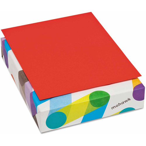 Mohawk BriteHue Multipurpose Colored Paper, 20lb, 8-1/2 x 11, Red, 500 Shts/Rm