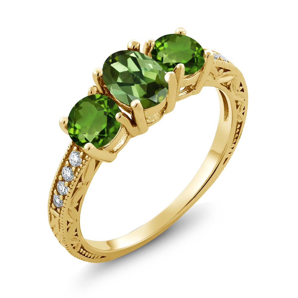 1.82 Ct Green Tourmaline Green Chrome Diopside 18K Yellow Gold Plated Silver Ring by