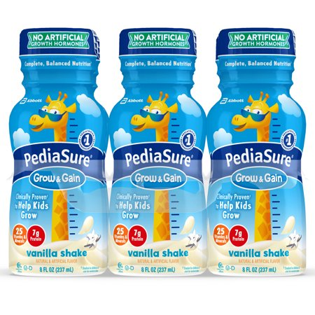 PediaSure Grow & Gain Kids' Nutritional Shake, with Protein, DHA, and Vitamins & Minerals, Vanilla, 8 fl oz,