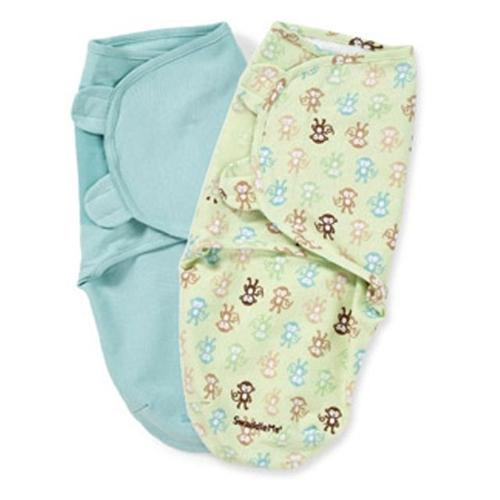 Summer Infant SwaddleMe Cotton Knit 2-Pack, Small/Medium, Monkey Fun