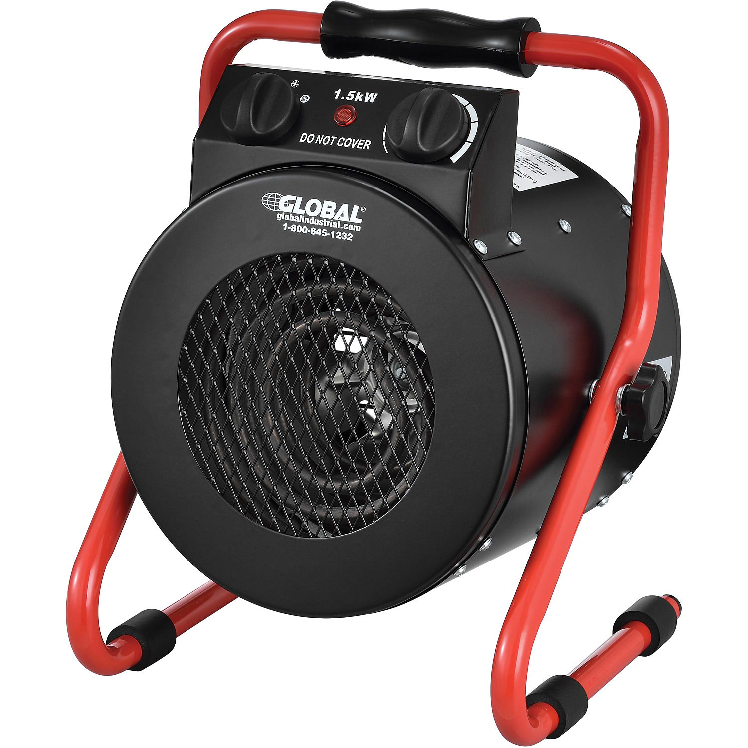 Portable Electric Garage Space Heater With Thermostat, 1500 watt, 120v, Red, Lot of 1