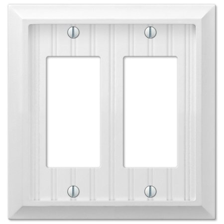 Cottage White Wood Double GFCI Decora Rocker Wall Switch Plate Cover ()