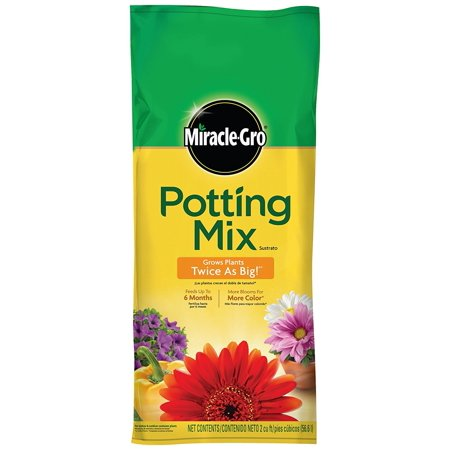 - Miracle-Gro Potting Mix, 2-Cubic Feet, Grows Plants Twice as Big!* *versus unfed plants By MiracleGro
