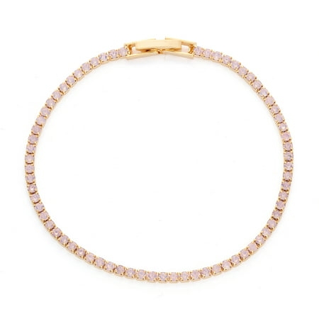 X & O 14KT Gold Plated Crystal Solid Pastel Tone Style Single Row Bracelet in Pink Opal