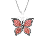 """Sterling Silver Butterfly Necklace Pendant with Fuschia Translucent Enamel Wings with 18"""" Box Chain"""