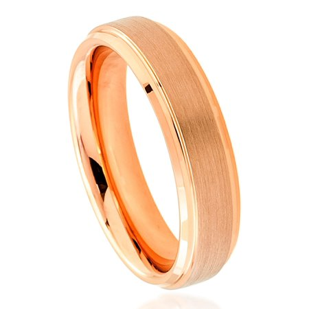 6mm Tungsten Carbide Rose Gold Plated Stepped Edge Brushed Center Wedding Band Ring For Men Or Ladies