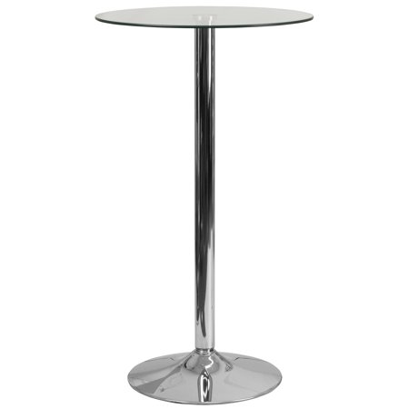 Flash Furniture 23.75'' Round Glass Table with 41.75''H Chrome