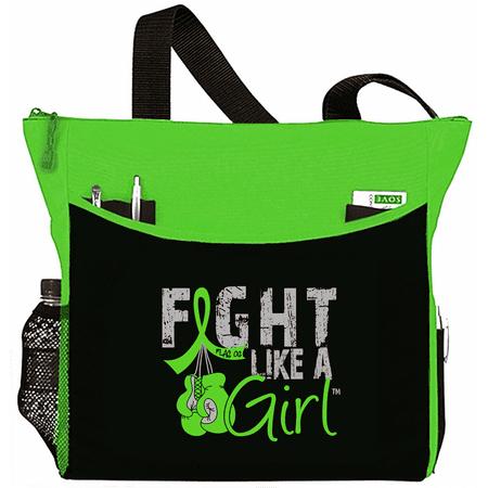 Fight Like a Girl Lymphoma Lyme Disease Muscular Dystrophy Tote Bag - Dakota, Lime Green - Bag Tote Green