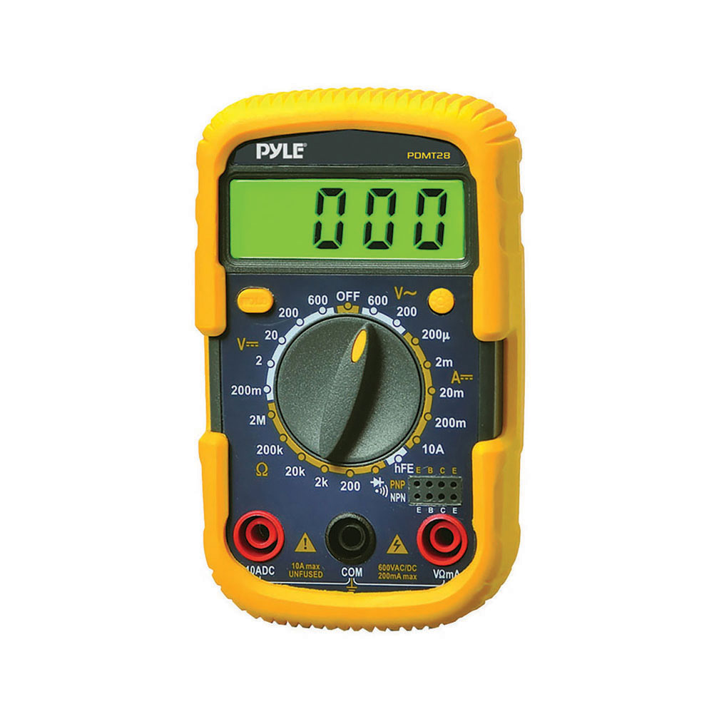 Pyle PDMT28 Digital LCD Multimeter, AC, DC, Volt, Current, Resistance, Transistor and Range with Protective Rubber Case