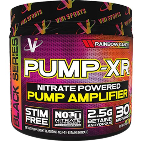 VMI Sports Pump-XR Nitric Oxide Boosting Pre Workout Powder, Intense Pumps, Vascularity and Strength, Stimulant Free, Rainbow Candy, 30