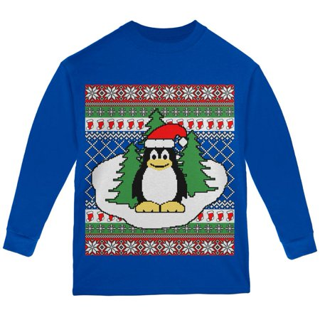 Penguin on Ice Ugly Christmas Sweater Youth Long Sleeve T Shirt - Penguin Christmas Sweater
