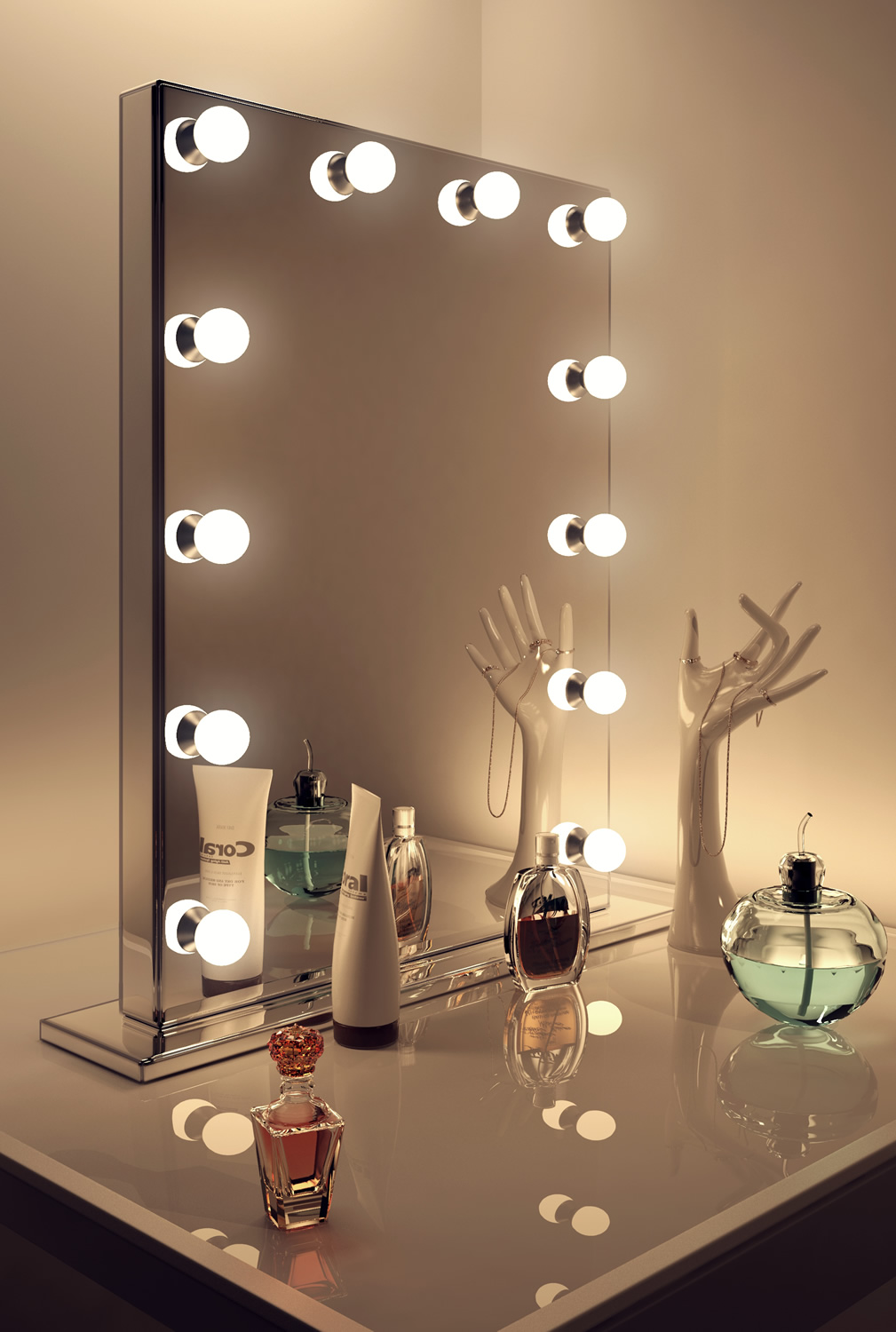 hollywood vanity mirror. diamond x mirror finish hollywood vanity dimmable led k252led - walmart.com