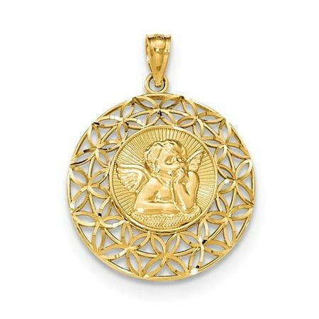 14k Yellow Gold Polished Angel DC Medal - 14k Angel Medal