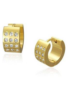 Wide 3 Row Cubic Zirconia CZ Huggie Hoop Kpop Earrings For Men For Women 14K Gold Plated Stainless Steel