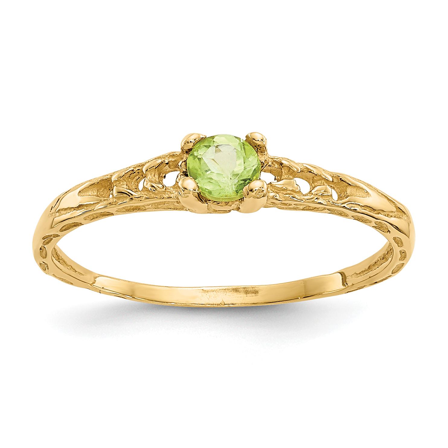 14k Madi K 3mm Peridot Birthstone Baby Ring by Saris and Things QG
