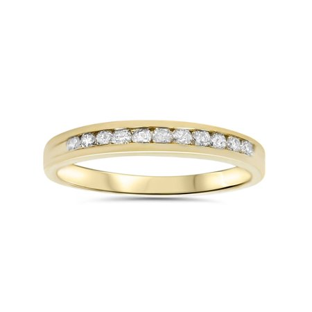 1/4ct LADIES RING NATURAL DIAMOND CHANNEL SET WEDDING BAND PURE 14K YELLOW GOLD Channel Diamond Wedding Band