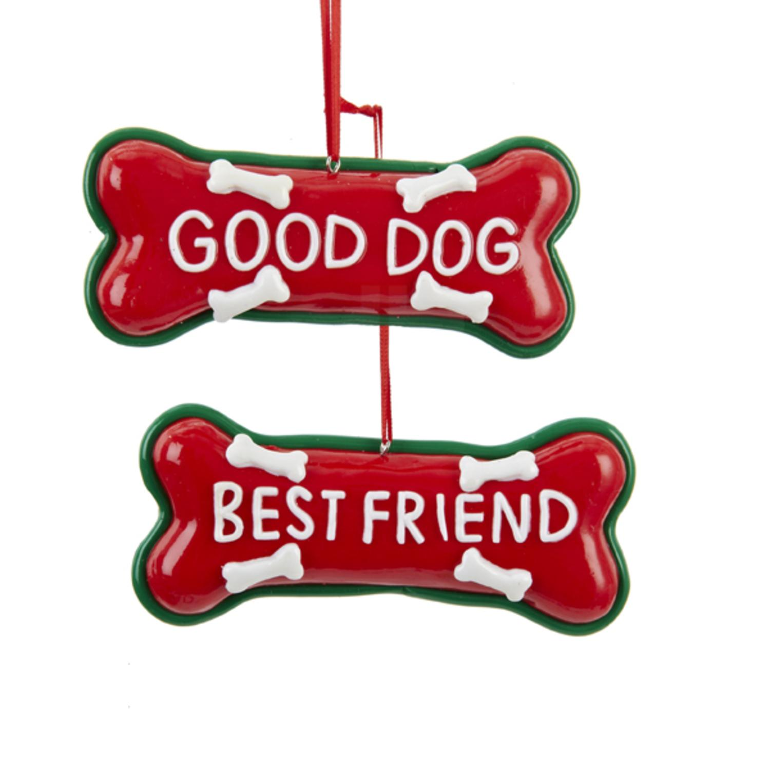 "Club Pack of 12 Red ""Best Friend"" and ""Good Dog"" Bone Christmas Ornaments 4.25"""