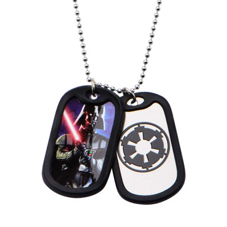 Men's Stainless Steel Darth Vader with Rubber Silencer Double Dog Tag Pendant Necklace