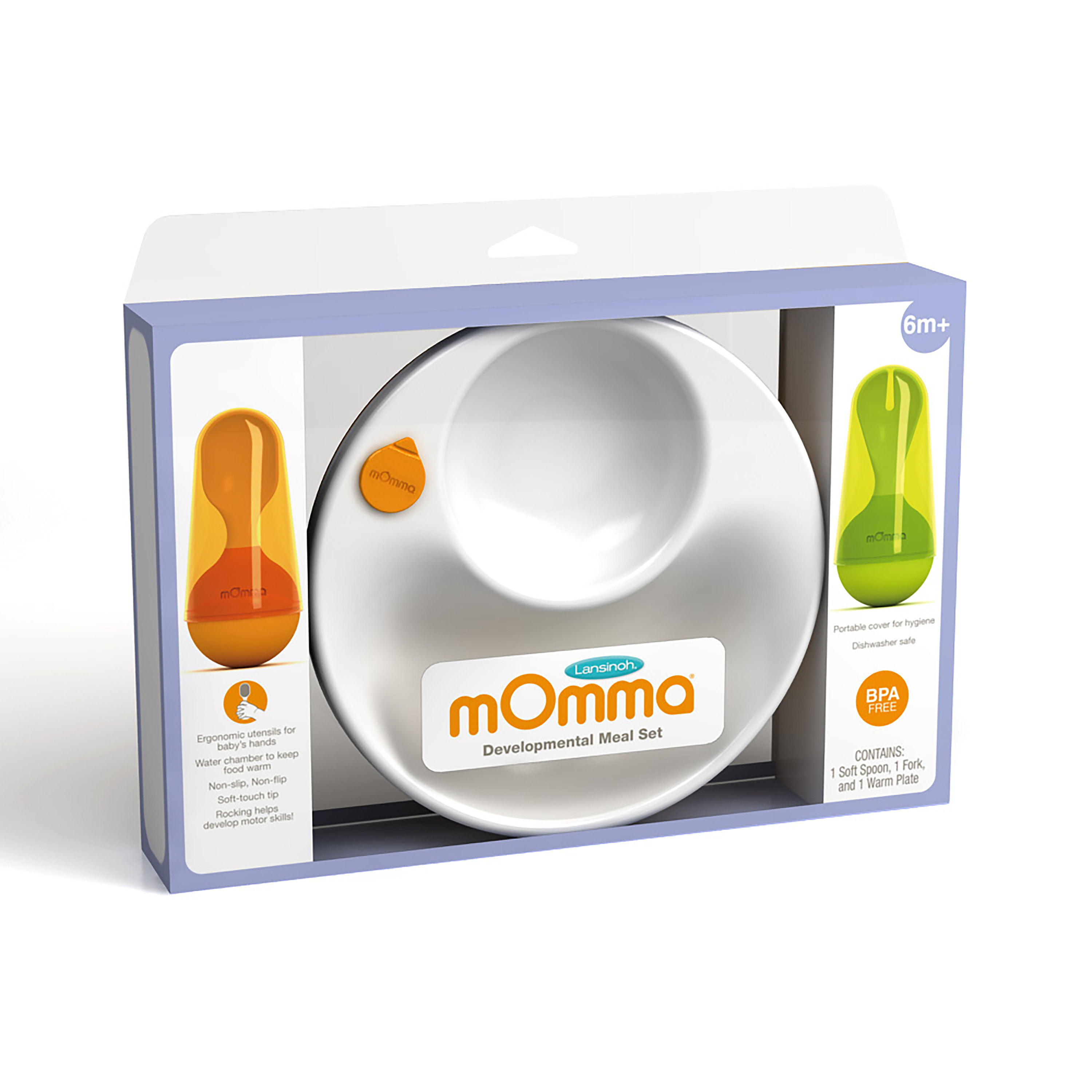 Lansinoh mOmma Developmental Meal Set, 1 Soft Spoon, 1 Fork and 1 Warm Plate