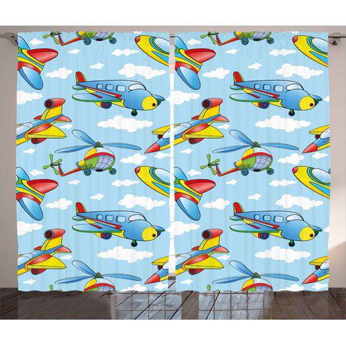 Zoomie Kids Garett Kids Decor Graphic Print & Text Semi-Sheer Rod Pocket Curtain Panels (Set of 2)