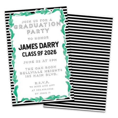 Personalized Leafy Framed Graduation Party Invitation