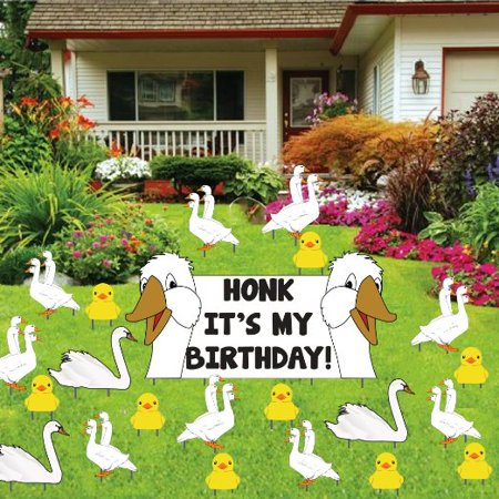 Birthday Yard Decoration - Honk It's My Birthday with 25 Stakes - Today It's My Birthday